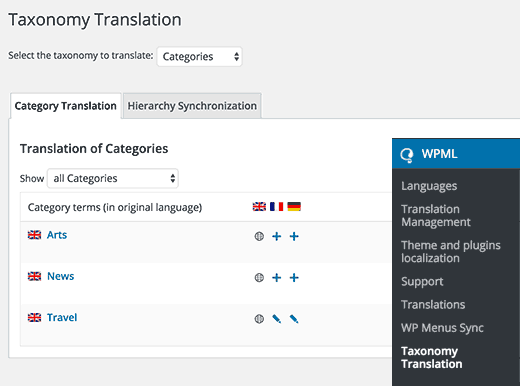 WPML Taxonomy Translation