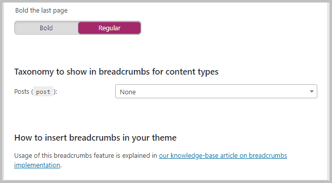 Breadscrumbs settings
